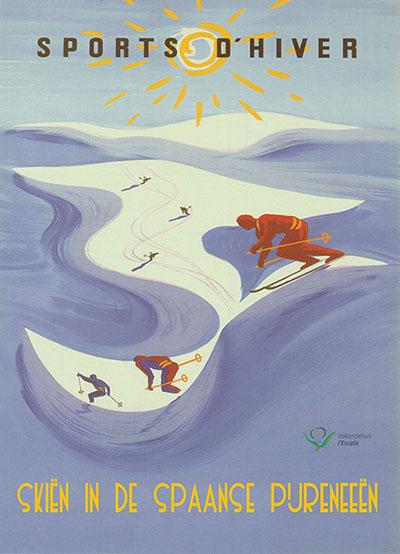 Jaren 50 poster voor Skiën in de Spaanse Pyreneeën