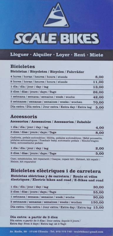 De folder met prijzen van Scale Bikes fiets huren in l'Escala